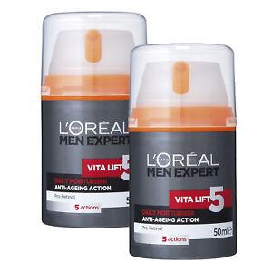 NEW-L-039-Oreal-Paris-Men-Expert-Vita-Lift-5-Anti-Ageing-Daily-Moisturiser-50ml-x-2