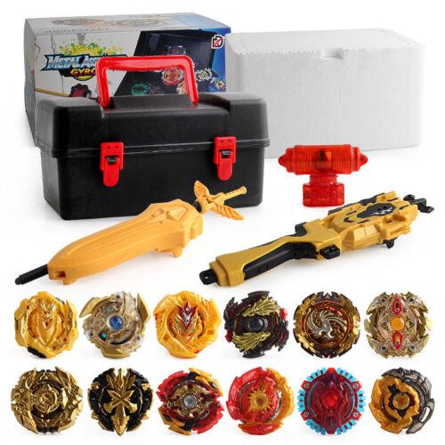 12 Beyblade Gold Burst Set Spinning Avec Grip Launcher Portable Boîte Cas Cadeau
