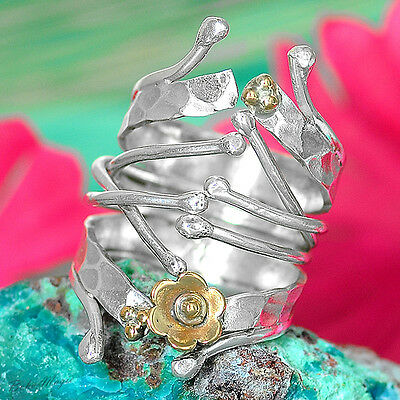 Sterling Silver 925 Ring Tribal Adjustable Wrap Size Jewelry Spirals Oversize