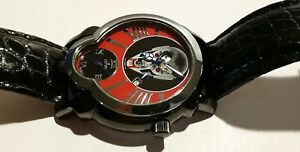 CROTON-DAREDEVIL-RED-VAMPIRE-SKULL-WATCH-DUAL-TIME-amp-DUAL-MOVEMENT-WRISTWATCH