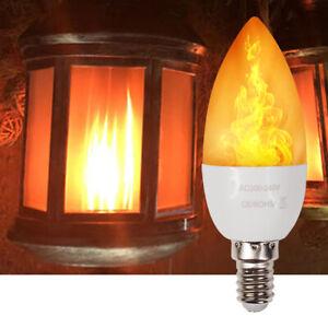UK E14 SES 3W LED Burning Light Bulb Flicker Flame Effect
