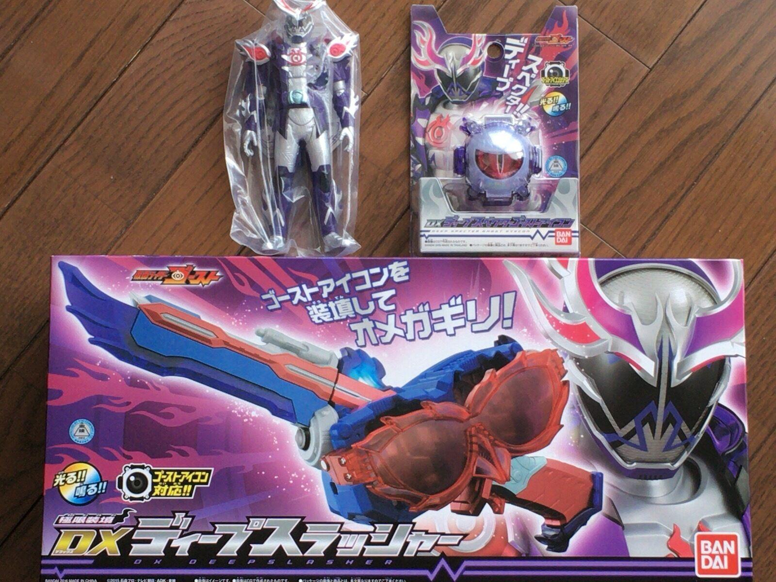 Kamän Maskerade Rider Ghost DX Deep Slasher och Deepspecter Ghost eyecon och Figur set