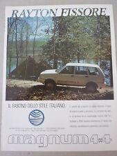 ADVERTISING PUBBLICITA' RAYTON FISSORE MAGNUM 4X4 il fascino italiano  --  1991