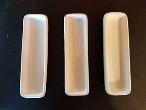 PAMPERED-CHEF-White-SIMPLE-ADDITIONS-Hospitality-Dishes-Trays-Set-of-3-retired