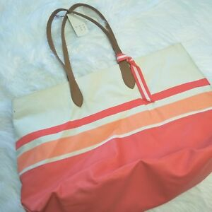 74d7f246b4d Details about A New Day Orange Striped Beach Bag Women's Canvas Striped  Oversized Tote Handbag
