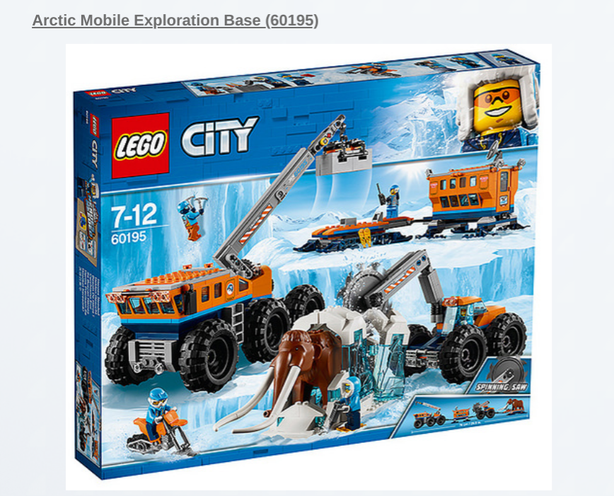 LEGO City Arctic Mobile Exploration Base 60195 New
