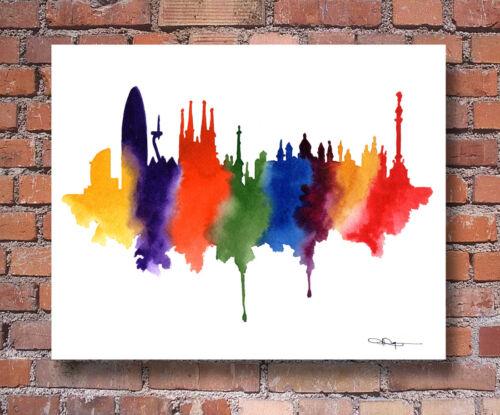 BARCELONA SPAIN Skyline Contemporary Watercolor Abstract ART Print by Artist DJR