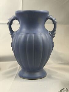 """1940s McCoy Pottery Matte Glaze Periwinkle Blue Double Handle Vase No Mark 12"""""""