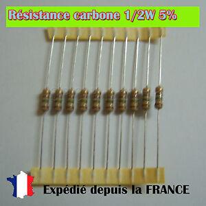 Résistance carbone 1//2W 5/% 390K ohms