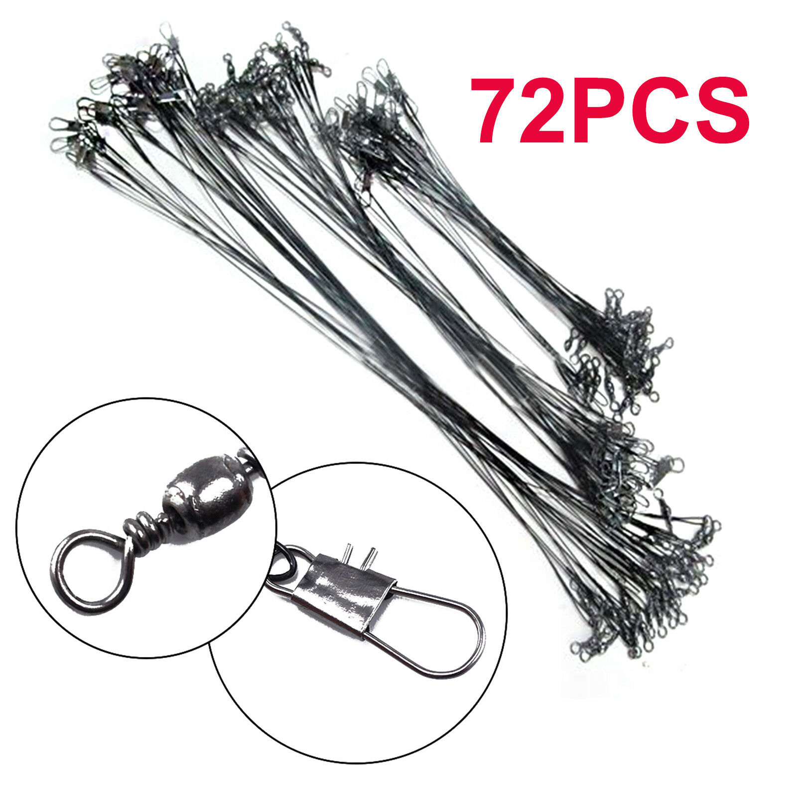 72x Fishing Lures Leader Stainless Wire Trace Set Spinning Pike Lines 16//23//31cm