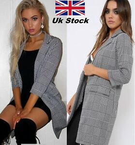 Women-Check-Hounds-Tooth-Tartan-3-4-Sleeve-Duster-Coat-Ladies-Jacket-Blazer-Top