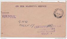 1953 KGVI OHMS Cover FPO 534 Tripoli Melf Cover BC157
