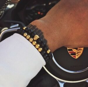 Set-of-2-Black-and-Gold-Skull-Beaded-Bracelet-For-Men-Luxury-Jewellery-UK-Seller