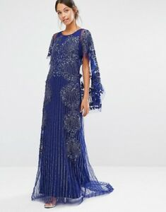 A-Star-Is-Born-Embellished-Lace-Cape-Back-Maxi-Dress-Navy-Uk-6-RRP-300