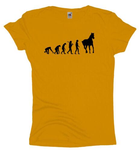 Evolution PferdDamen T Ma2ca ShirtPferde l Reiten Reiter Girlieshirt