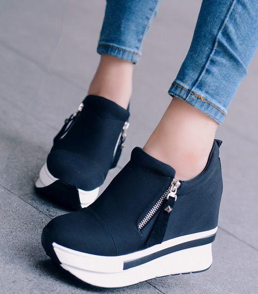 Women's Creeper Wedge High Heel Slip on Platform Sneakers Side Zip Fashion Shoes