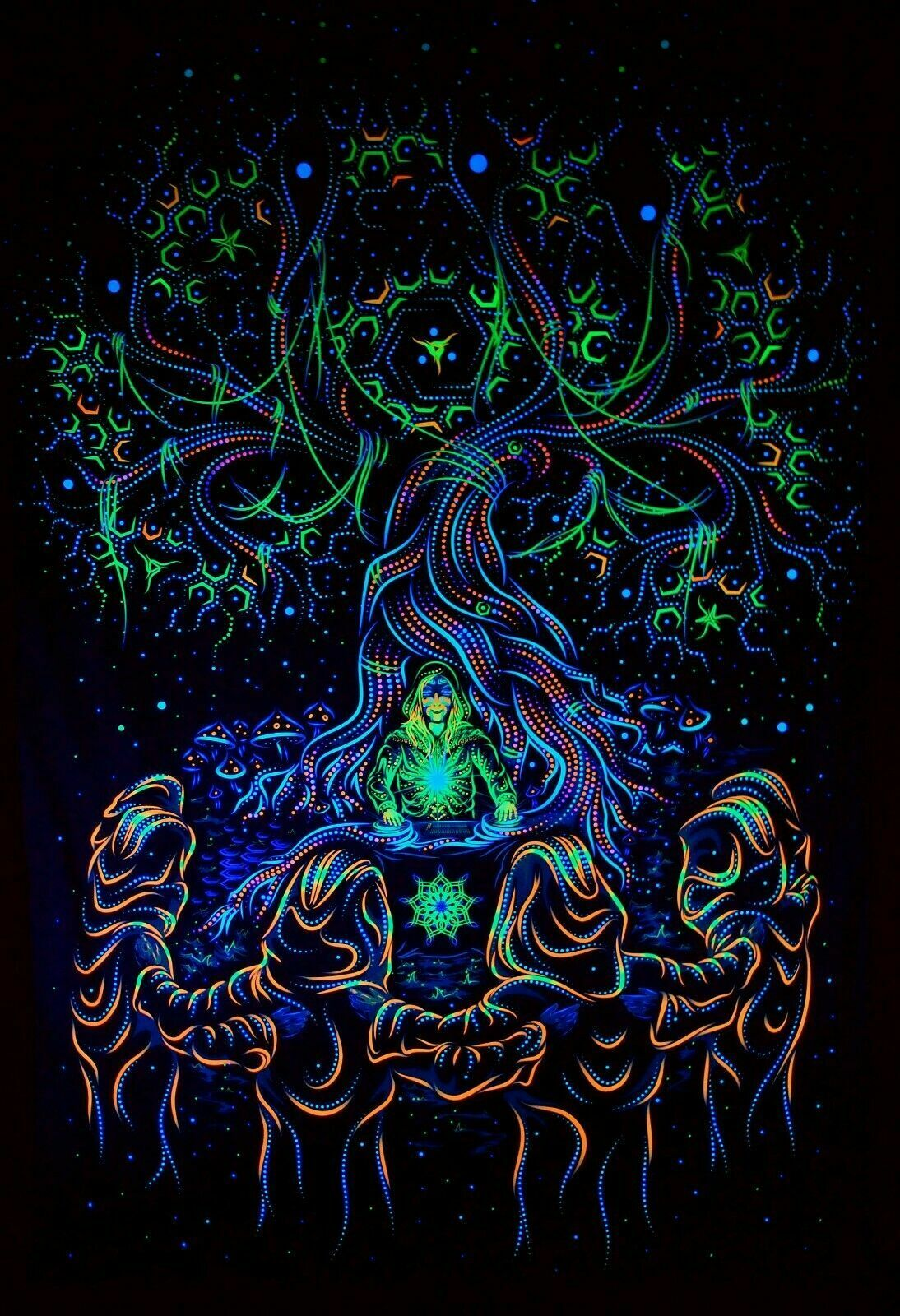 Trippy Tapisserie psychedelische spirituelle Psyart Natur fluoreszierende... | Verpackungsvielfalt
