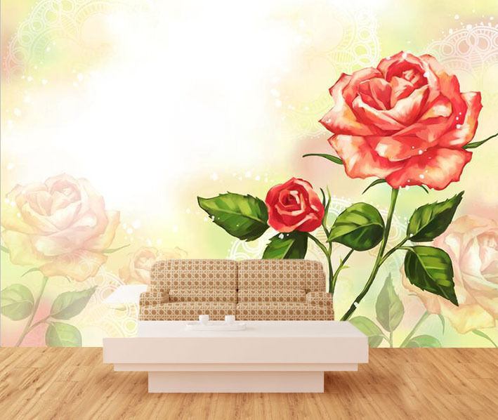 3D rot flowers 678 Wall Paper Print Wall Decal Deco Indoor Wall Murals