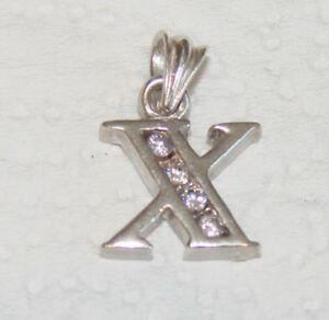 Clever Silberanhänger 4 Zirkonia Diamanten Buchstabe X Anhänger Sterlingsilber 925