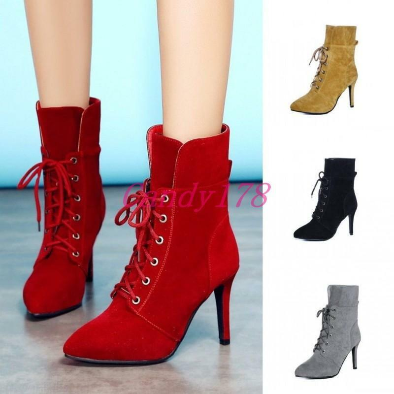 Fashion Womens Pointed Toe Stiletto shoes Faux Suede Lace Up Heels Ankle Boots