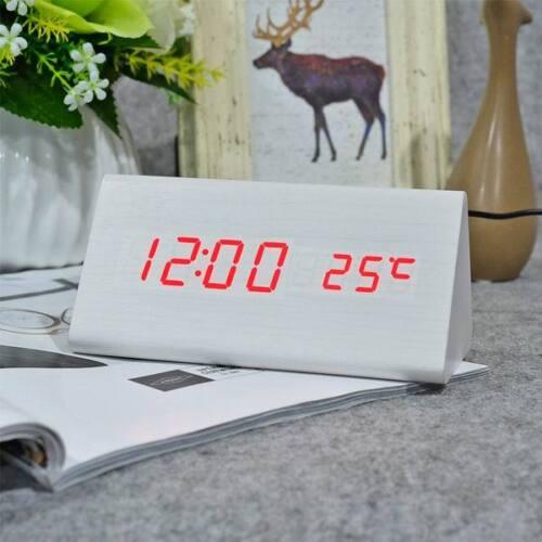 FIBISonic® Wood Electronic Desk Clock Digital LED Alarm Sounds Control