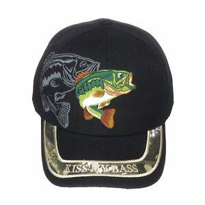 744cc9f35d7a8 Kiss My Bass Fisherman Sport Fishing Embroidery Velcro Back Baseball ...