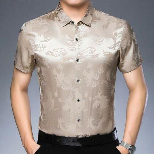 Men Tops Blouses Short Sleeve Dragon Printing Youth Summer Stylish T-shirts New
