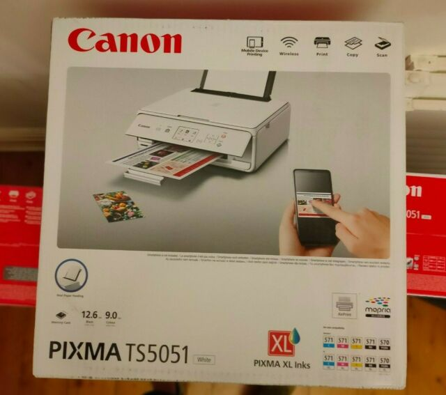 Canon PIXMA TS5051 All-in-One Wireless Inkjet Printer, White. New with Inks Inc.