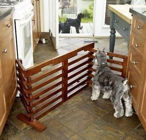 tri fold pet gate dog solid wood indoor adjustable free standing 360
