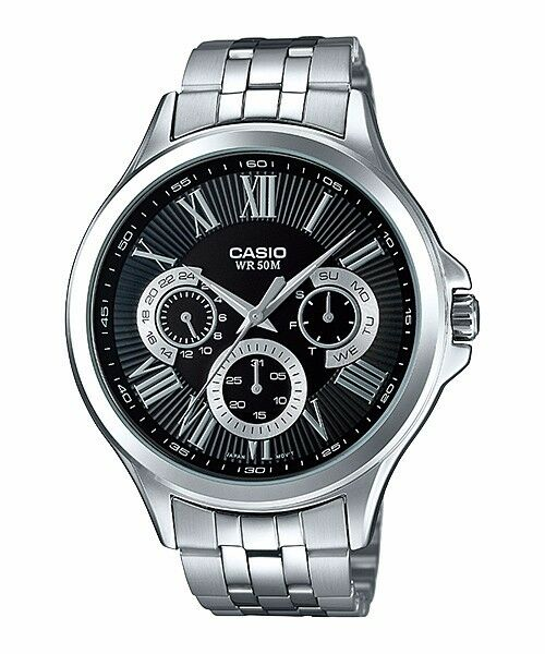 MTP-E308D-1A Black Casio Stainless Steel Men's Watch 50M Date Display New Model