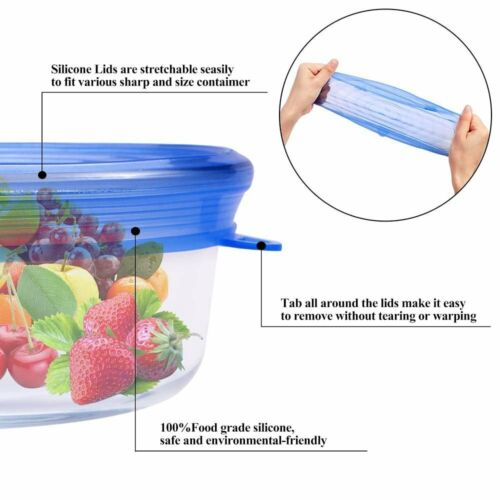 6pcs Reusable Blue Silicone Food Covers Stretch Bowl Wraps Lids Fit All Shapes