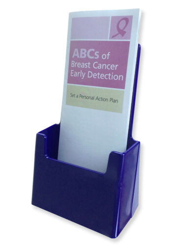 Blue Tri-fold Brochure Holders Counter Folded Literature Display Stand Plasic