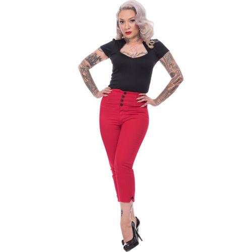 Steady Clothing Rockabilly Vintage High Waist Caprihose Pantaloni Tessuto Pantaloni-Sparrow