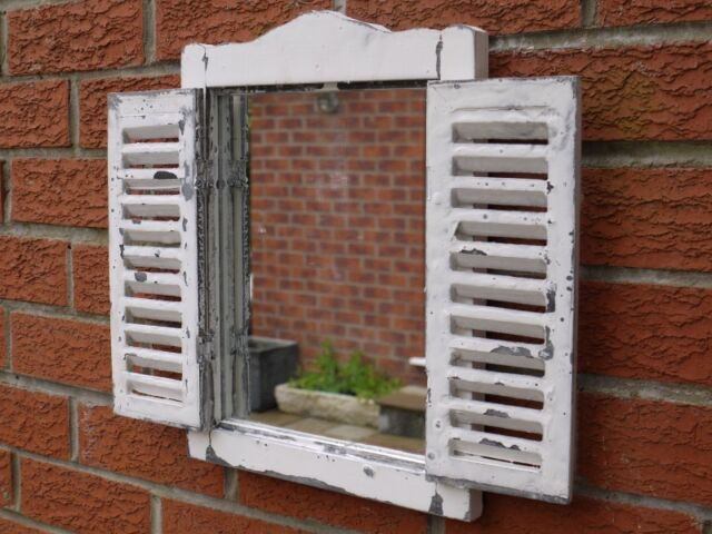 Shabby Chic Garden Mirror Window French country Farm Vintage White Wash 40CM