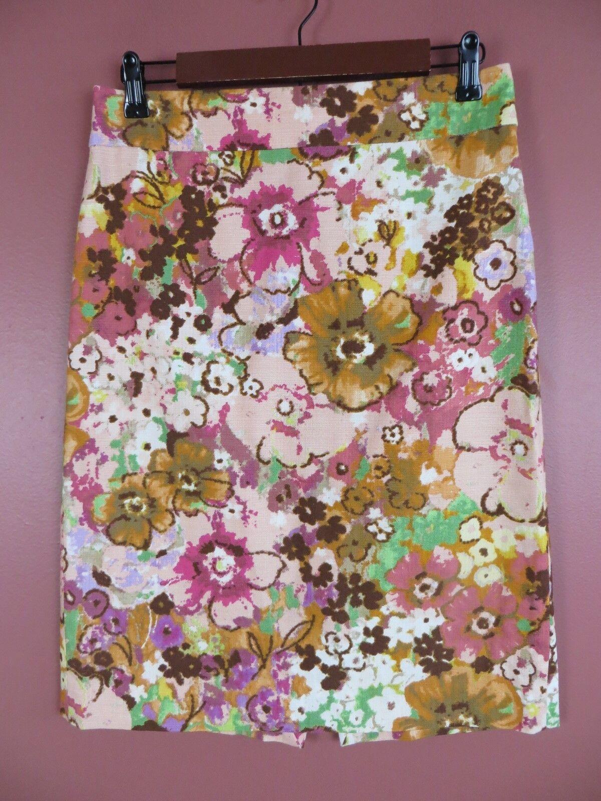 SK11755- J. CREW Womens 98% Cotton Pencil Skirt Multi-color Floral Sz 4 MINT