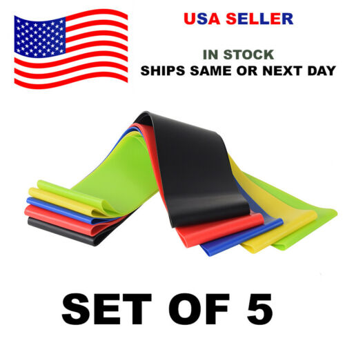 Set of 5 Resistance Bands Loops Yoga Loop Exercise Fitness Strength Training Gym