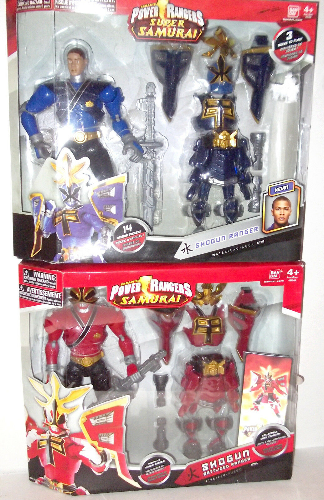 Power Rangers ✰ 12  Battlized Shogun Rojo Azul Agua Samurai Armor Figura Sellada