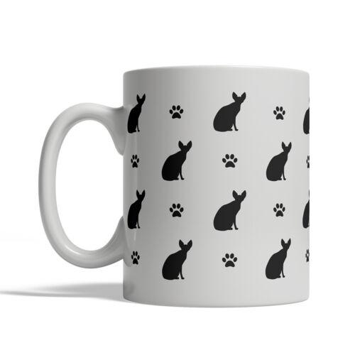 Tea Cup 11 oz ceramic silhouette Sphynx Cat Silhouettes Coffee Mug