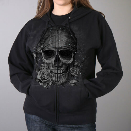 Skull With Bandana and Roses Ladies Hoodie