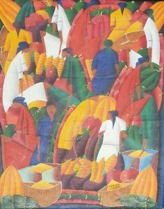 Vintage & Signed FanFan Kenol Naif Folk Haitian Art Painting on Canvas HAITI