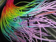 Neon solid feather hair extension 10 rainbow tie dye thin whiting saddle hackle