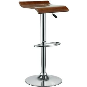 Surprising Details About Bentwood Modern Wooden Seat Bar Stool W Chrome Base Foot Rest Oak Pdpeps Interior Chair Design Pdpepsorg