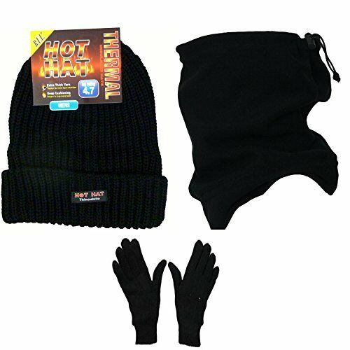 Mens Gift Set 3 Piece Thermal Set 4.7 TOG Beanie Hat & Thermal Glove Neck Warmer
