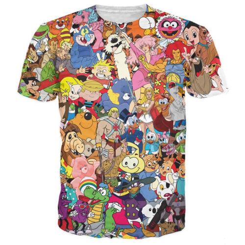 New Womens//Mens Cartoon Character Funny 3D Print Casual T-Shirt Short Sleeve Tee