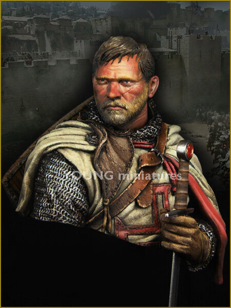 Young Miniatures  Templar Crusader Knight YH1837 Bust Unpainted Resin kit