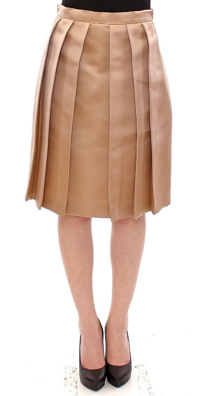 NEW  900 Andrea Incontri Skirt Brown Silk Solid Mini Pleated IT44  US10  EU40  L