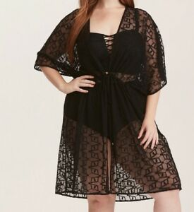 a23701227c Torrid Black Embroidered Mesh Tie Front Swim Cover-Up 0X Large 12 ...