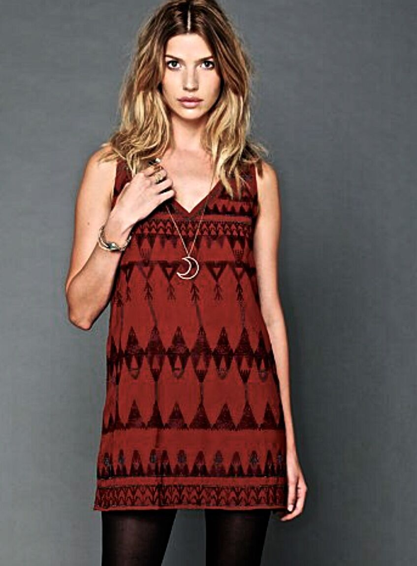 NWT Free People rust schwarz Embroiderot Embellished Beaded Shift Dress S