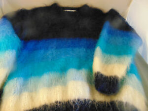 Lady's blu Sweater Ireland Sfumature lana Made Quill's art 100 Handcrafted di rrqwxdf4z