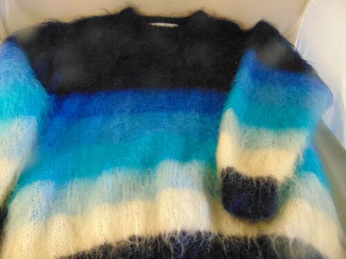 Para Dama Jersey Handcrafted Quill's 100% Lana Hecho Irlanda Tonos de Azul Arte